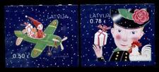 Weihnachten. Puppen in Flugzeug, Kind mit Geschenk und Huhn. 2W. Lettland 2016