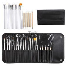 20PCS Design Painting Dotting Drawing Nail Art Tips Pen Brush Tool Set Kit Case