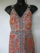 Size 16/18 Beautiful Floral Paisley Print Grey Orange Dress