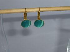 Ohrringe Brisur gold mit Cateye-Cabochon 12mm blau *GO150629*