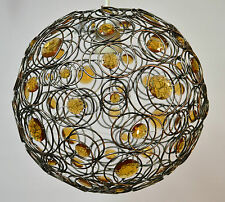 MOROCCAN STYLE COPPER PENDANT CEILING LIGHT SHADE AMBER JEWELLED