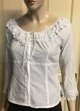 White Lace And Cotton Button Up Blouse Sz 12 By Maestro