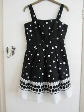 Black & White Spotted Cotton Summer Debenhams Dress in Size 12 - NWT