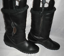 Ladies Black Side Zip Synthetic Leather Wedge Low Heel Mid Calf Boots Size: 6/39