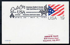 1992 Special `Station` cancel. 19c Card `US Quilt Show, Paducah, Kentucky`