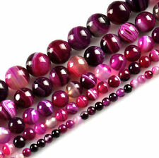 20Pcs Natural Striped Agate Round Gemstone Spacer Loose Beads Jewelry Accessory