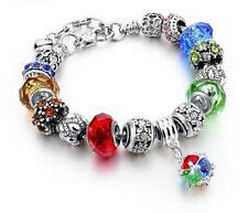 NEW Woman's/Girls Silver Plated Rainbow Crystal Charm Bracelet - Perfect Gift