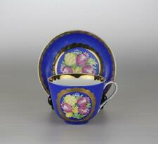 Antique Large Soviet Russian Porcelain Floral Cup and Saucer by Dulevo factory.