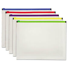 Globe-Weis Poly Zip Envelope Letter Open Side Assorted 5/Pack 85292