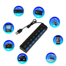 7-Port USB 2.0 Multi Charger Hub +High Speed Adapter ON/OFF Switch Laptop/PC CT