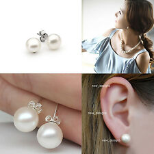 Cultured Freshwater Pearl Earrings White /Cream 925 Sterling Silver Stud / Studs