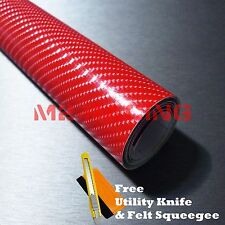 "*24""x60"" 4D Gloss Red Carbon Fiber Sticker Decal Car Vinyl Wrap Air Release Film"