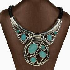 Flossy Genuine Turquoise Chunky Choker Bib Collar Statement Necklace Pendant