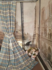 """New Huge Bespoke Duck Egg CreamTartan 52""""W108""""L Blackout/Thermal Lined Curtains"""