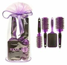 Hair Tools Head Jog Purple Round Ceramic Ionic Brushes Set Of 4 with Bag