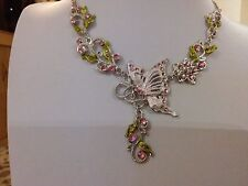 Brand new silver Necklace with pink enamel butterfly + gift box