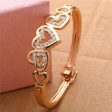 New Fashion Women Girl Gold Plated Crystal Cuff Bangle Love Heart Charm Bracelet