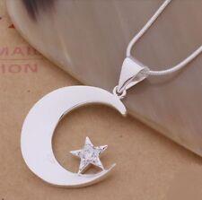 Halskette Anhänger Mond Stern Versilbert Silber 925 Geschenk Kette
