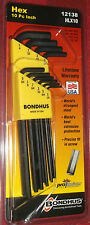 Bondhus 12138 HLX10 Long Hex Key 10 Piece Allen Wrench Set