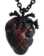 Gothic BIG Bloody Black Charred Human Heart Necklace with Chain Anatomical