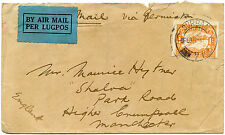 SOUTH AFRICA 1932 AIRMAIL 1/- DURBAN to MANCHESTER GB