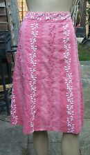 MONSOON Pink Panelled Embroidered Knee Length Cotton Skirt Size: 16
