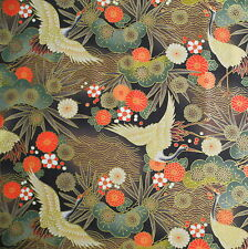 Crane Floral Black Japanese Cotton Fabric Per Half Metre 50cm TG41