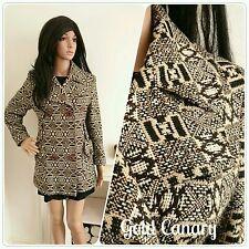 Vintage 70s Brown Tapestry Geometric Wool Jacket Coat Mod Boho 10 38