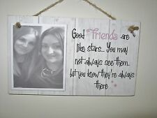 Handmade Personalised Photo Plaque Friends are like stars Gift Rustic Shabby