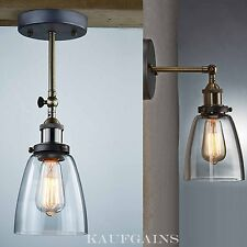 Retro Vintage Industrial Glass Bell Sconce Wall Light Bedroom Lamp TV Wall Mount