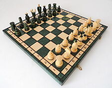 BRAND NEW LARGE HANDCRAFTED GREEN KINGS WOODEN CHESS SET 49CM