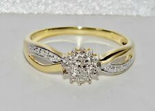 Beautiful 9ct Yellow Gold & Silver Diamond Cluster Ring - size V