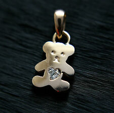 585 Russian Red Rose 14K Gold CZ Teddy Bear Pendant Gift boxed