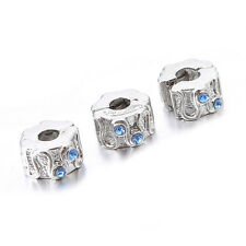 5pcs Blue Four Rhinestone Carved Pattern Stopper Copper Bead Fit Europ Charms BS