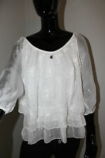 Made in Italy Tunika Bluse weiß Seide S M L edel Top Volant Shirt edel blogger