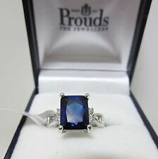 CREATED BLUE SAPPHIRE & WHITE TOPAZ  925 SOLID STERLING SILVER RING Size L / 6