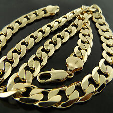 A614 GENUINE REAL 18K YELLOW G/F GOLD MENS HEAVY SOLID CURB CUBAN NECKLACE CHAIN