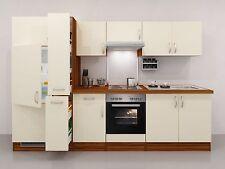 Küchenzeile 300 cm Creme mit Geräten und Apothekerschrank -Sienna
