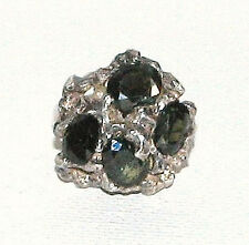 Sterling Silver Statement Nugget Ring / 8 Carats Tourmaline 8.7 Grams Size 7-3/4