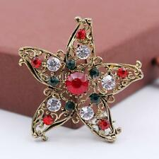 Vintage Crystal Rhinestone Christmas Star Brooch Banquet Pin Broach Xmas Gift