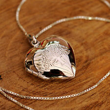 925 Sterling Silver Love Heart Locket Tree Of Life Pendant Chain Necklace w Box