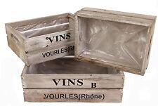 Deko Holzkisten VINS - 3er Set - Weinkiste Blumentopf Wein Kiste Pflanzkübel