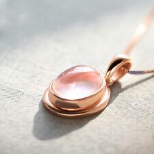 Elegant 18K Rose Gold Plated Silver Filled Rose Quartz Pendant Necklace NF40
