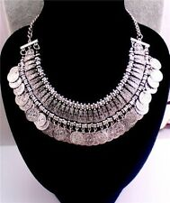 Antiqued Fashion Silver Coins Statement Bib Pendant Chunky Choker Necklace UK