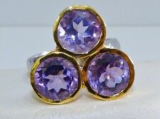 GENUINE 7.50tcw Brazilian Amethyst Three Stone Ring Solid Sterling Silver 925