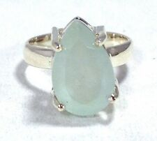 aquamarine faceted pearshape ring, solid Sterling Silver, uk size L 1/2, new.