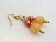 Golden Honey Quartz, Coral Pink Glass Pearl & Green Crystal Drop Dangle Earrings