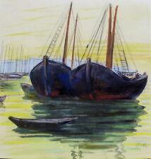 Prof.H. Essinger Pastell,Aquarell,Bütten ,ab 1930,Boote,monogrammiert,Toppkunst