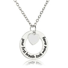 Mommy Grandma Gift Personalized Pendant Necklace Heart Silver Plated Charm