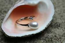 Womens White Freshwater Pearl Crystal CZ 925 Sterling Silver Adjustable Ring